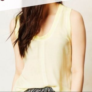Cloth & Stone pale yellow sleeveless rayon top